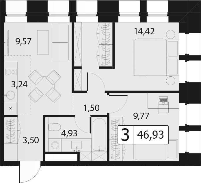 3Е-комнатная, 46.93 м²– 2