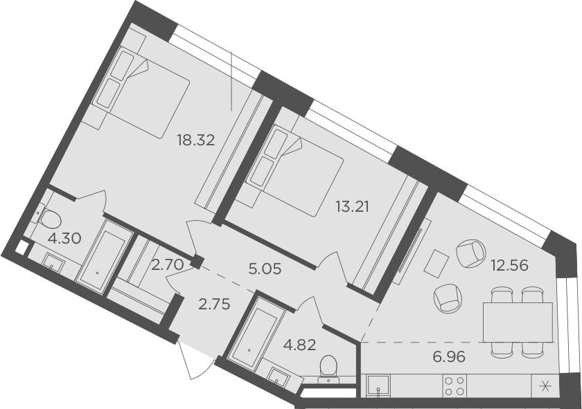 3Е-комнатная, 70.67 м²– 2