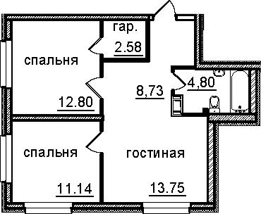 2-к.кв, 53.8 м²