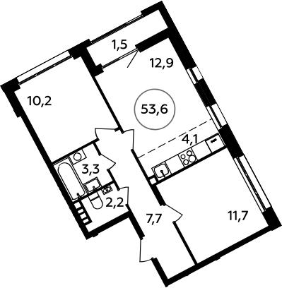 3Е-к.кв, 53.6 м², 4 этаж