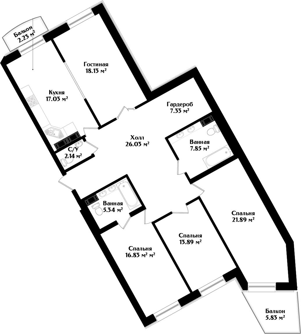 5Е-комнатная, 138.88 м²– 2