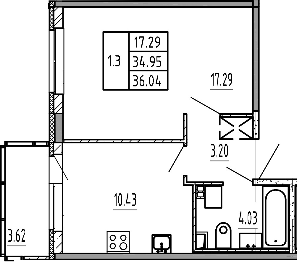 1-к.кв, 34.95 м²
