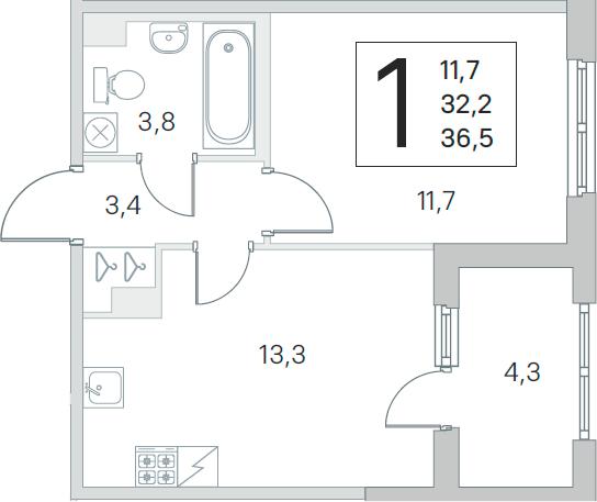 2Е-комнатная квартира, 32.2 м², 1 этаж – Планировка