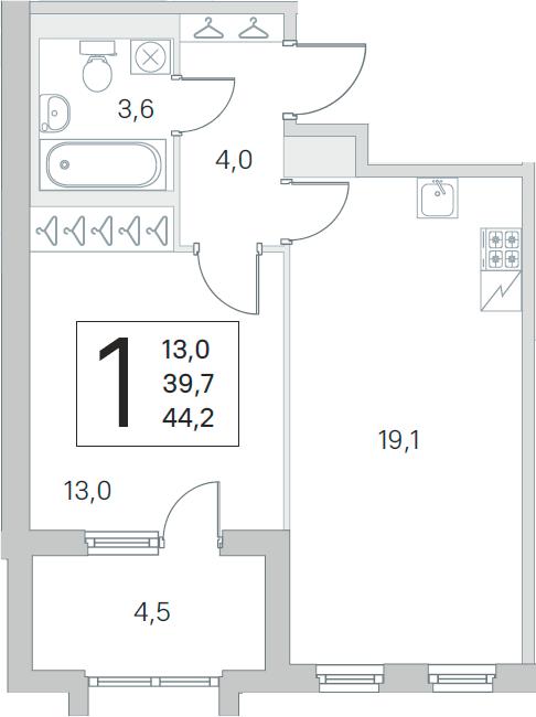2Е-комнатная, 39.7 м²– 2