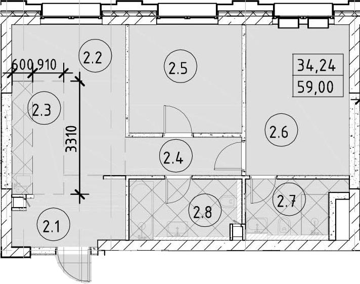 3-к.кв (евро), 59 м²