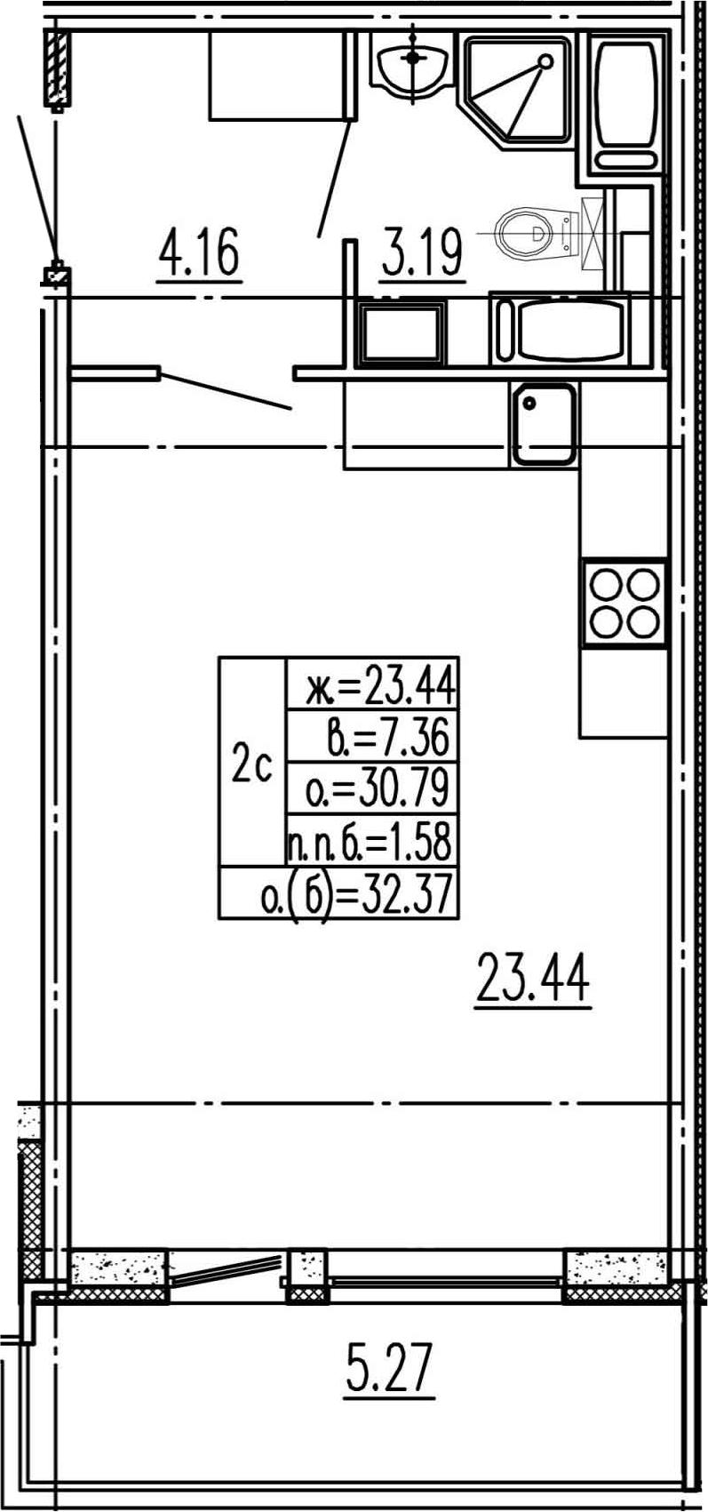 Студия, 30.79 м²– 2