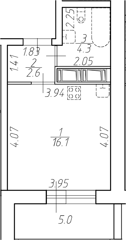 Студия, 28 м²