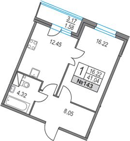 1-комнатная, 41.04 м²– 2