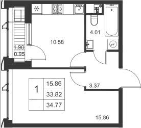 1-к.кв, 35.72 м²