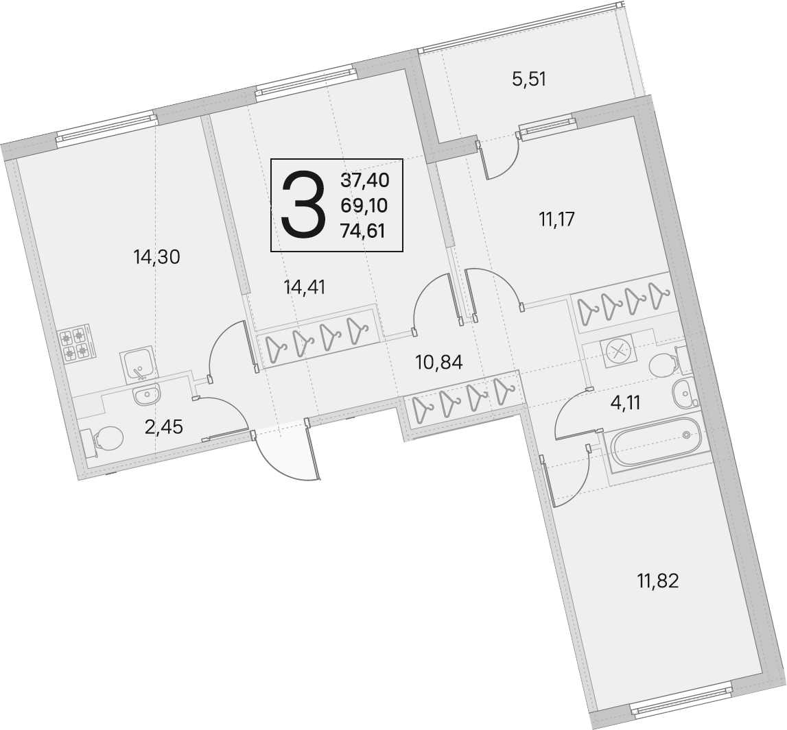 3-к.кв, 69.1 м²