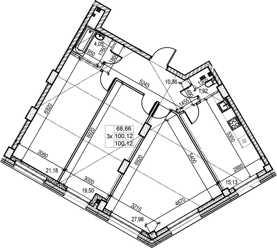 3-к.кв, 100.12 м²