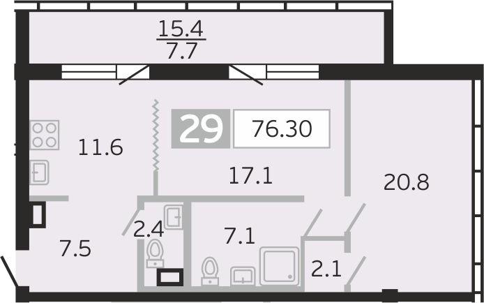 2-к.кв, 76.3 м²