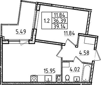 2Е-к.кв, 36.39 м²