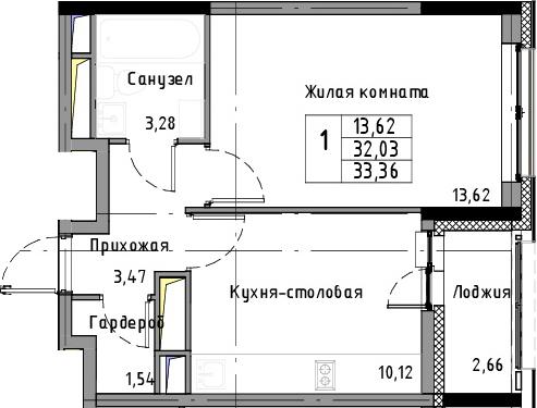1-к.кв, 33.36 м², 5 этаж