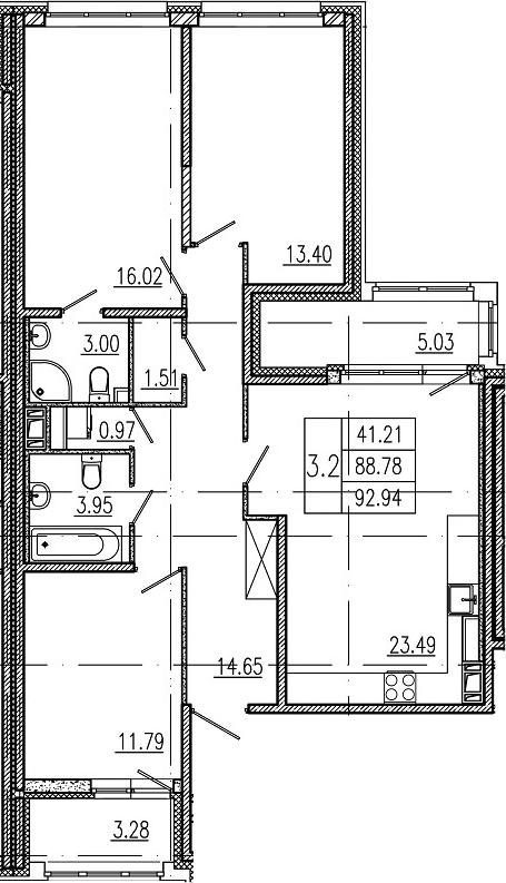 4Е-к.кв, 88.78 м²