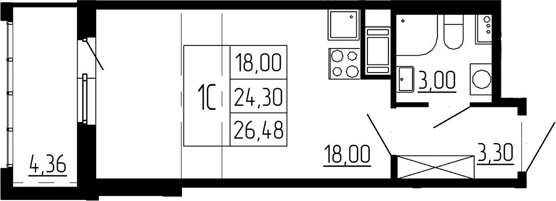 Студия, 24.3 м²