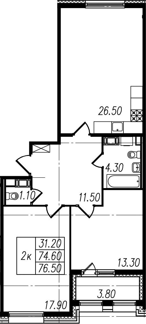 3Е-к.кв, 74.6 м², 8 этаж