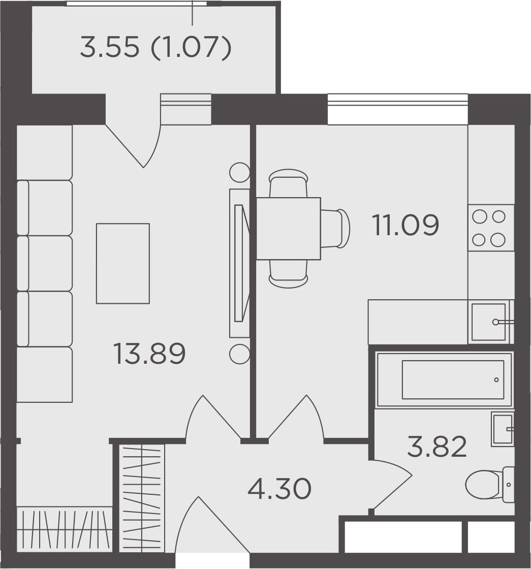 1-к.кв, 34.17 м²