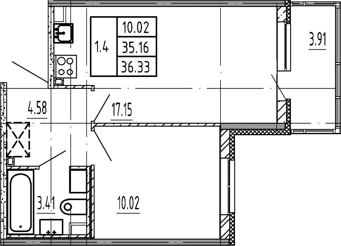 2Е-к.кв, 35.16 м², 2 этаж