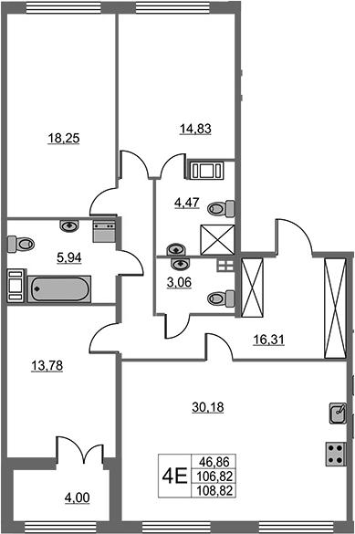 4Е-комнатная, 106.82 м²– 2