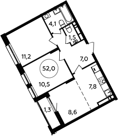 3Е-к.кв, 52 м², 11 этаж