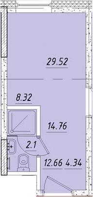 Студия, 15 м²– 2