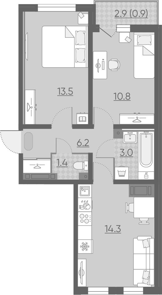 3Е-к.кв, 50.1 м², 2 этаж