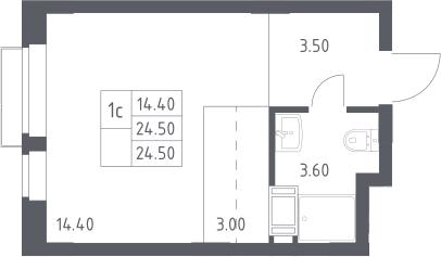 Студия, 24.5 м², 4 этаж – Планировка