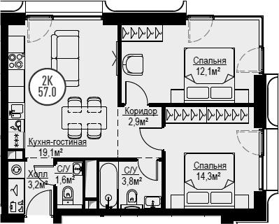 3Е-комнатная, 57 м²– 2