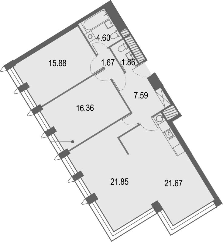 4Е-комнатная, 91.48 м²– 2