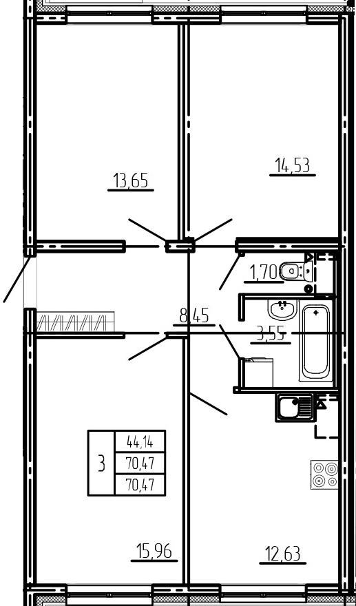 3-комнатная, 70.47 м²– 2
