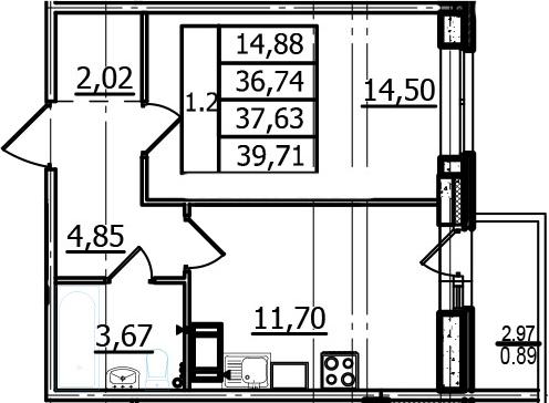 1-комнатная, 36.74 м²– 2