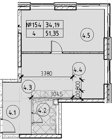 2Е-к.кв, 51.35 м², 17 этаж