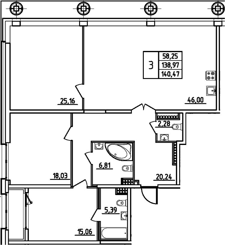 4Е-комнатная, 140.47 м²– 2