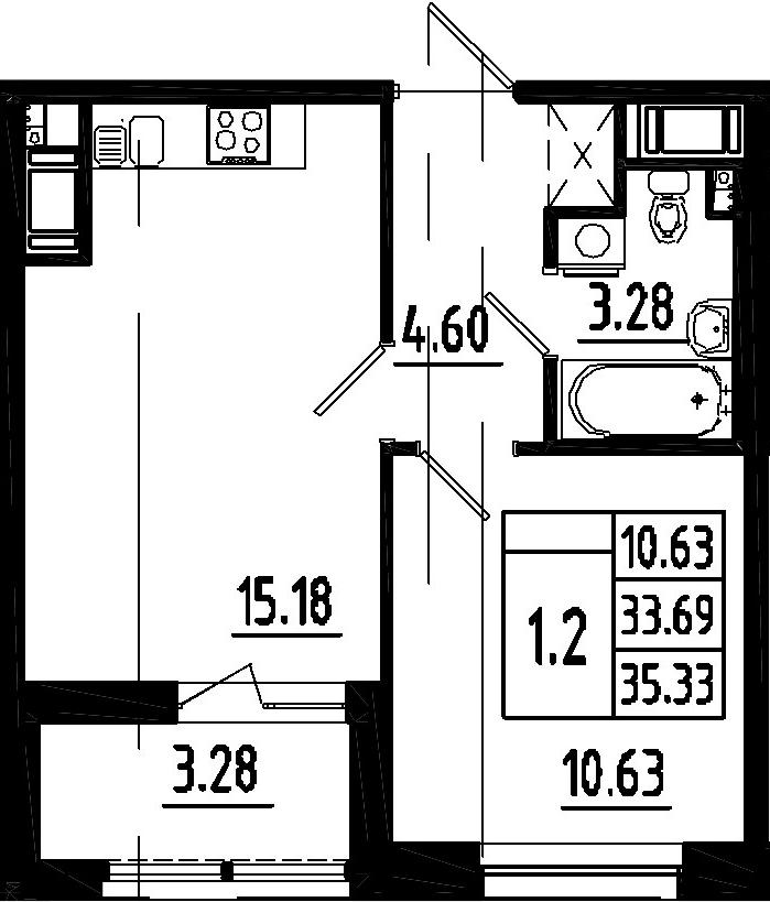 2-к.кв (евро), 36.97 м²