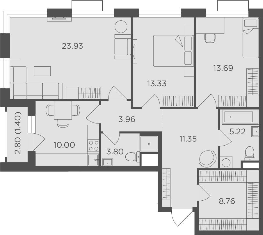 3-к.кв, 95.44 м²