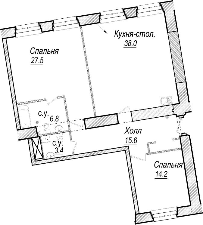 3Е-к.кв, 105.5 м², 4 этаж
