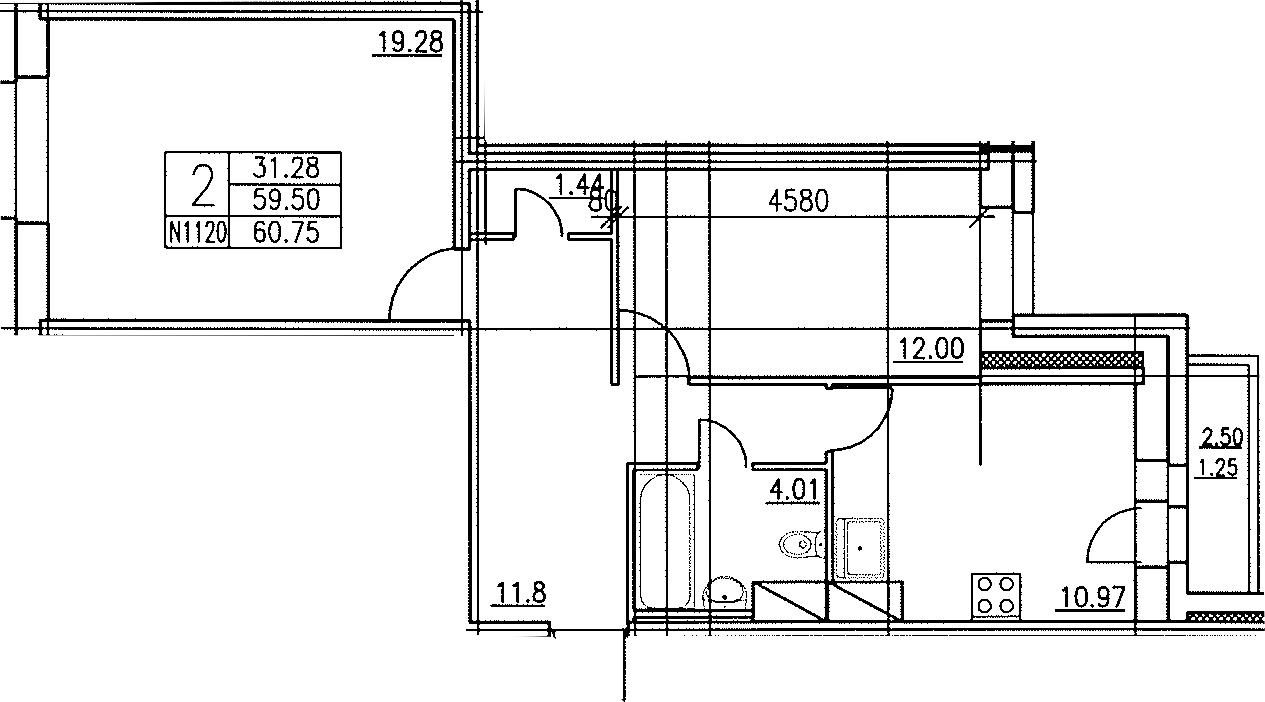 2-к.кв, 60.05 м²