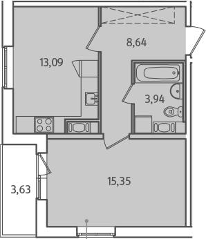 1-комнатная, 42.84 м²– 2