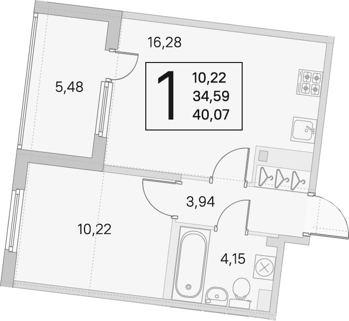 2Е-к.кв, 34.59 м², 3 этаж