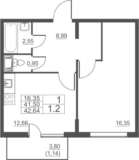 1-комнатная, 42.64 м²– 2