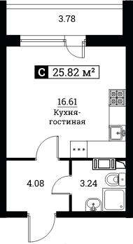 Студия, 25.82 м², 9 этаж – Планировка