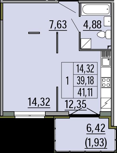 1-комнатная, 41.11 м²– 2