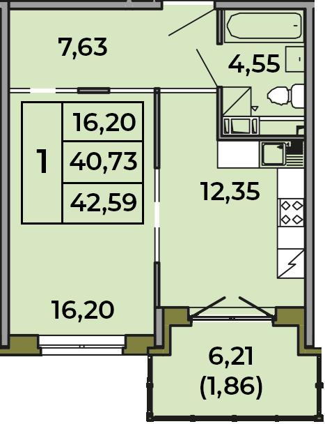 1-комнатная, 40.73 м²– 2