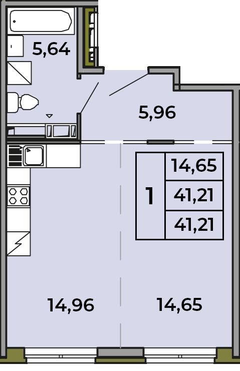Студия, 41.21 м², 3 этаж – Планировка