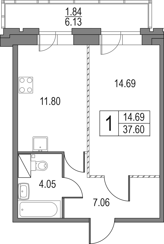 1-к.кв, 37.6 м², 18 этаж