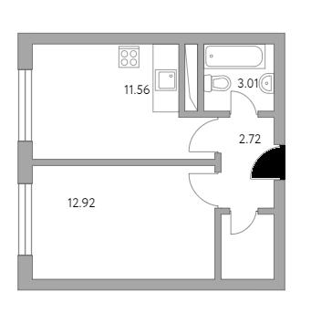 1-к.кв, 32.27 м²