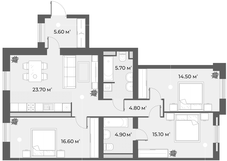 4Е-к.кв, 90.9 м², 3 этаж
