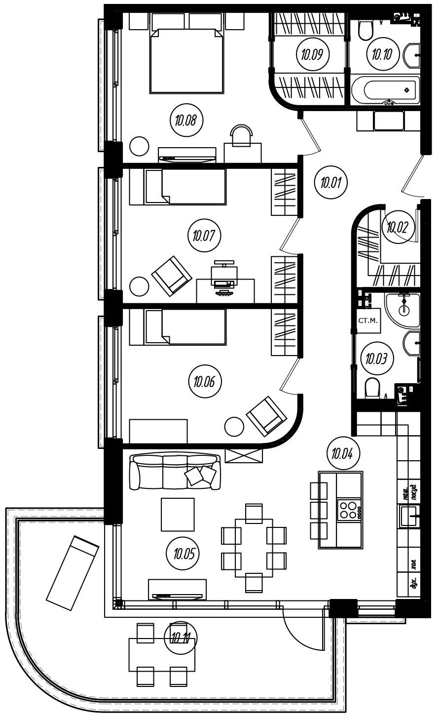 4Е-комнатная, 99.38 м²– 2