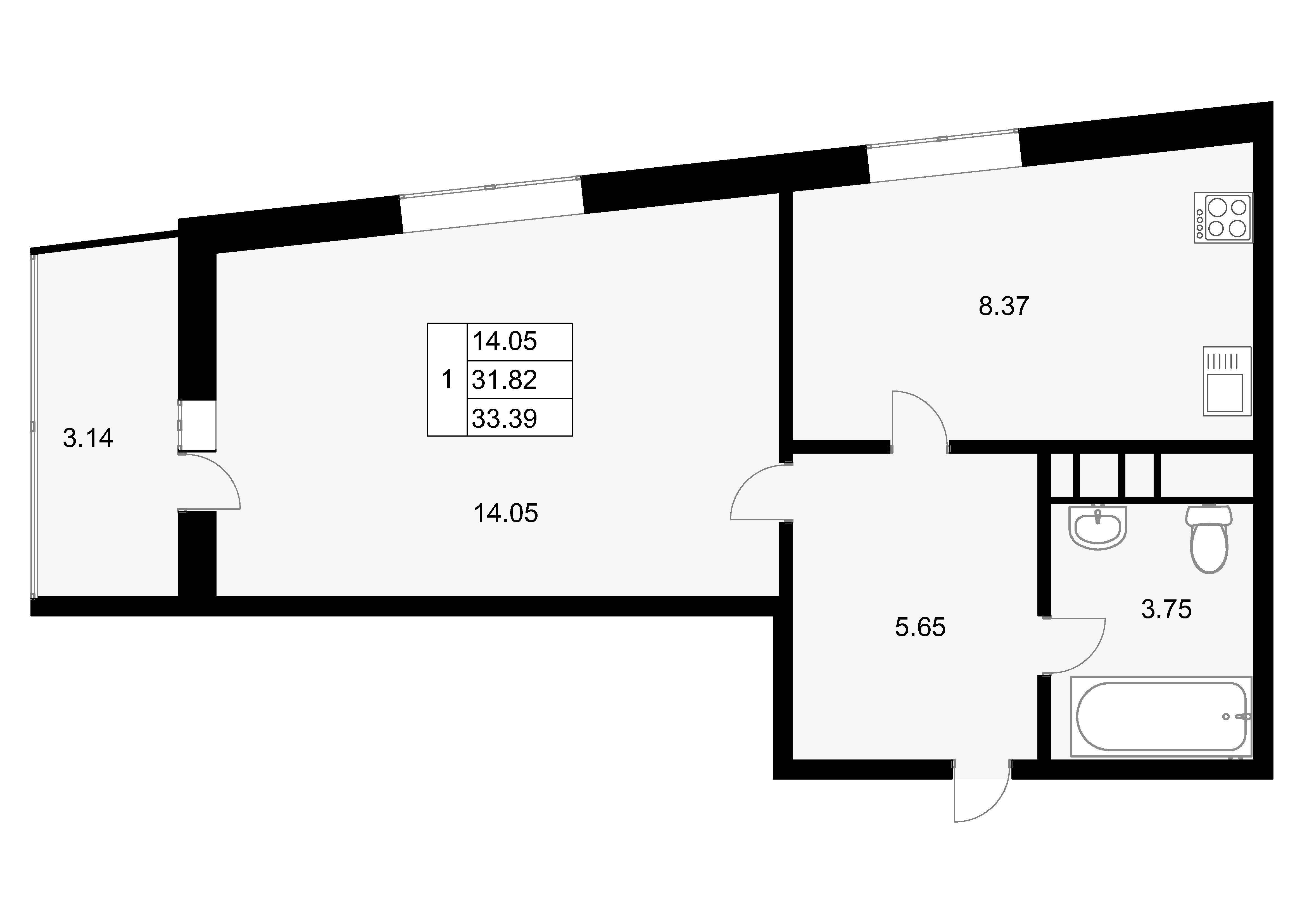 1-к.кв, 34.96 м²